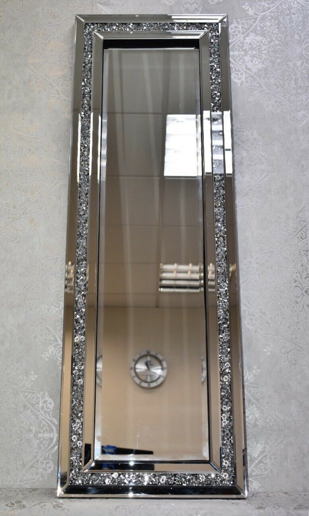 Diamond Crush Glass Sparkly Crystals Silver Wall/Tall Mirror 40x120cm Home Decor