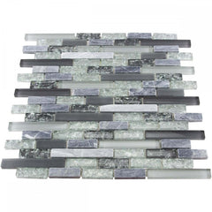 Luxury Textured Grey and Khaki Crackled Glass Mosaic Wall Tiles Sheet (Price per Sheet)