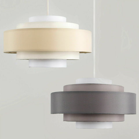 Modern 5 Tier Easy Fit Cotton Ceiling Pendant Light Shade Lampshade LED Bulb
