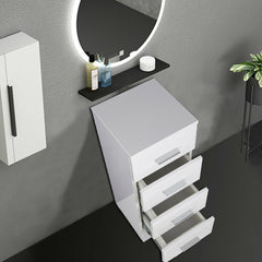 White Gloss Four Drawer Bathroom Storage Cabinet