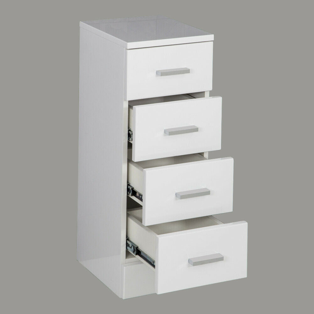 Bathroom 4 Drawer Storage Cabinet Unit Modern Gloss White Cupboard 300 x 300mm