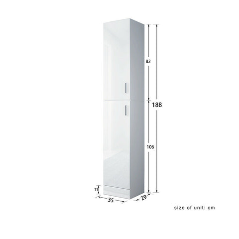 1.9m Tall Bathroom Cabinet White High Gloss Storage Furniture Unit Cupboard 74""