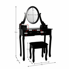 Black 5 Drawer Dressing Table with Stool and Mirror