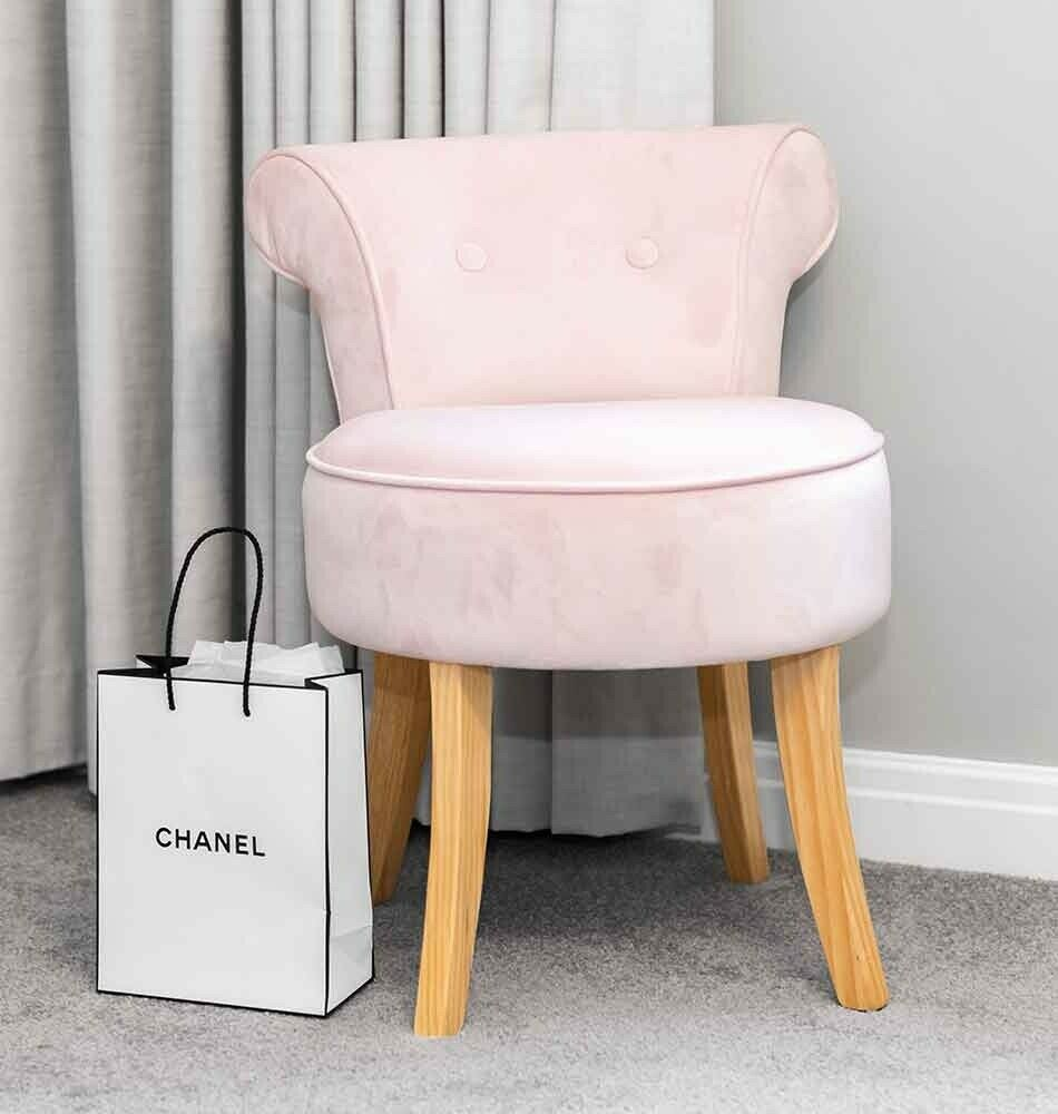 Pink Velvet Vanity Dressing Table Stool Natural Wooden Legs