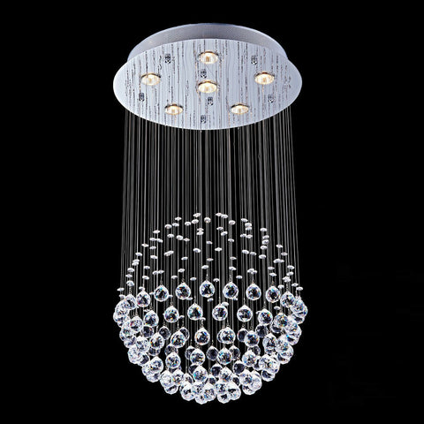 Crystal Lamp Modern Ceiling Light Chandelier Pendant 6 Light Mount Fixture Glass