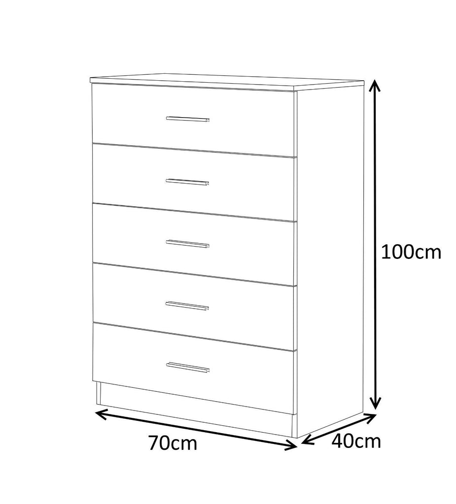 3 Piece Bedroom Furniture Gloss Set Wardrobe Chest Bedside In White