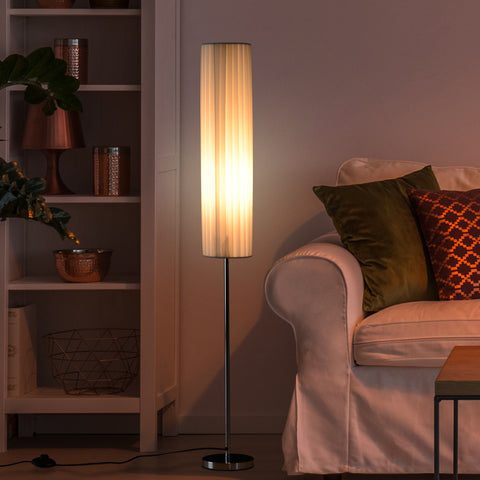 HOMCOM 120 cm Tall Floor Lamp Bedside Light Free Standing Cozy Polyester Shade