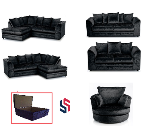 CRUSHED VELVET SOFA SET - VARIOUS COLOURS