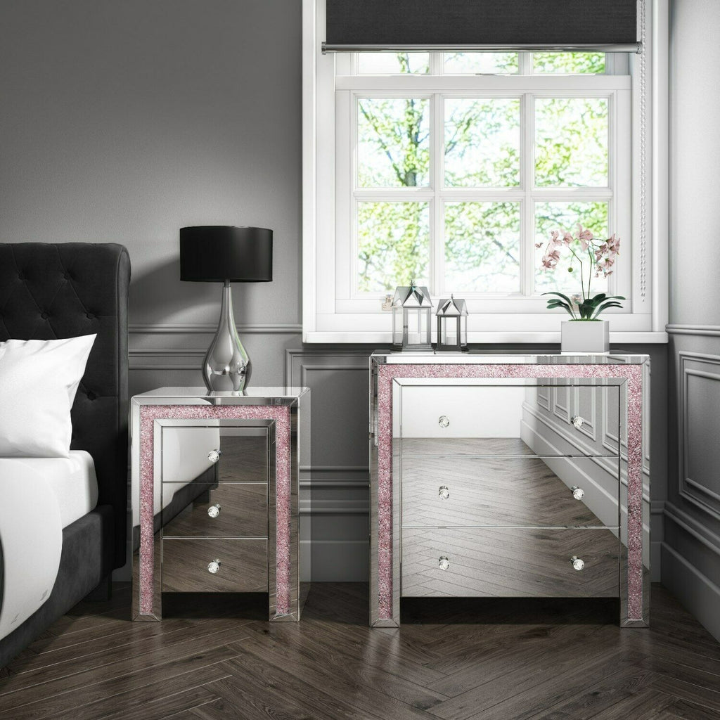 Mariah Crush Diamond Mirror Chest of Drawers in Pink MAH006