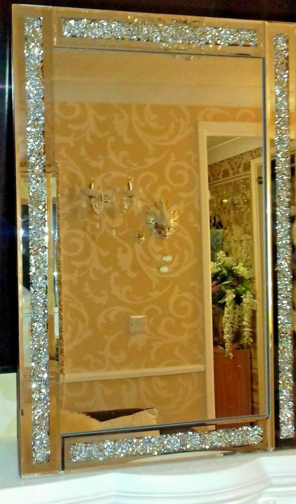 Jewel Wall Hung Mirror Sparkly Silver Diamond Crush Crystal 60X40cm Bevelled