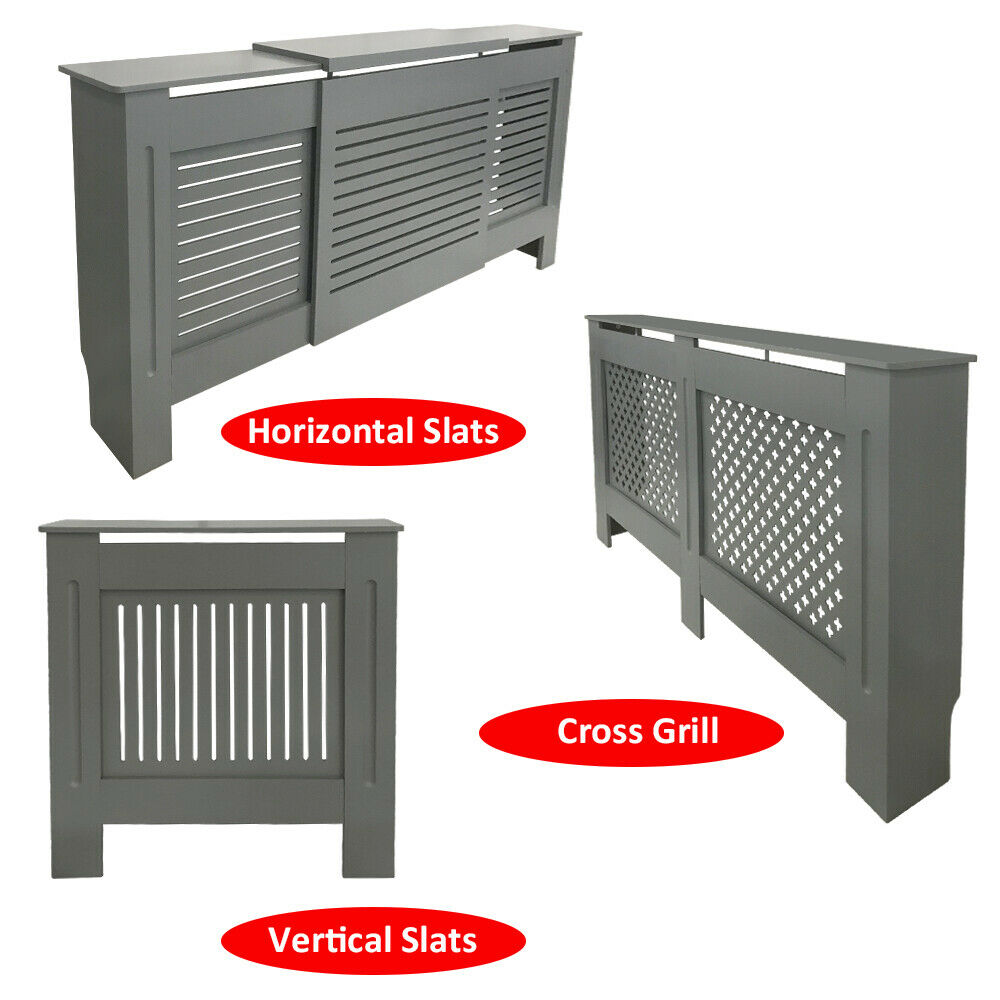 Grey Traditional Radiator Cover Vertical Horizontal Cabinet MDF Grill Furniture