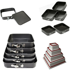 5PC SQUARE CAKE TINS NON STICK BAKING SET OF 5 BAKE TRAYS 5 TIER WEDDING