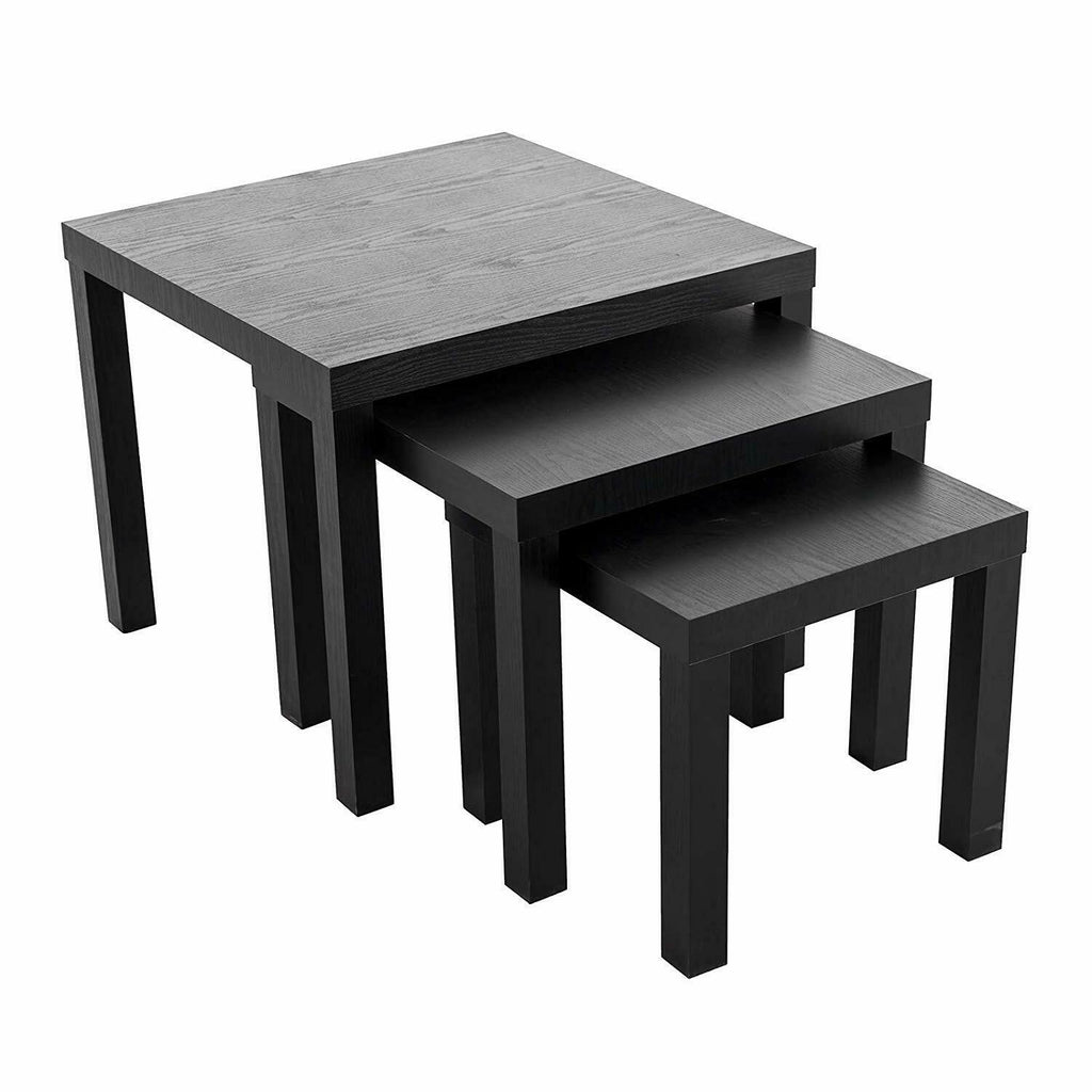Nest of 3 Tables Black Wood Coffee Table Set Side End Table Square Small Office