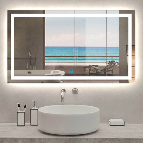 Large Bathroom Wall Mirror with LED Lights and Demister