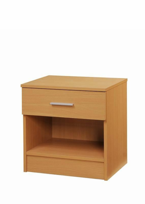 3 Piece Bedroom Furniture Set Wardrobe Chest Drawers Bedside Table Beech Effect
