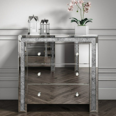 Mariah Crushed Diamond Mirror Chest of Drawers in Silver MAH003
