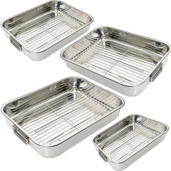 ROASTING TINS 4PC STAINLESS STEEL TRAYS OVEN PAN DISH BAKING ROASTER TRAY GRILL
