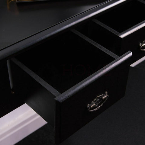 Nishano 5 Drawer Dressing Table Black Bedroom Stool Mirror Makup Desk Dresser