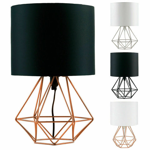 40cm Modern Geometric Wire Cage Table Lamp Bedside Lights Copper Chrome Black