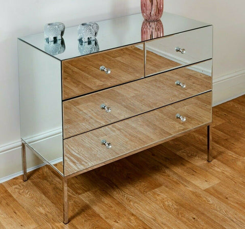Mirrored 4 5 6 Drawer Chest Tallboy Cabinet Sideboard Credenza Mirror Furniture