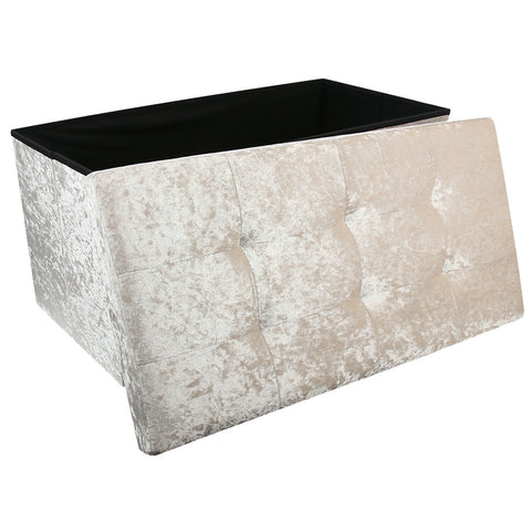 Large Crushed Velvet Foldable Ottoman Chest/Trunk