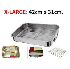4-Piece Stainless Steel Roasting Trays