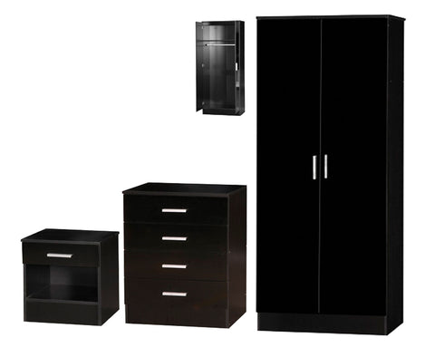 Black Gloss Effect Two Tone 3 Piece Bedroom Furniture Set Wardrobe Chest Bedside
