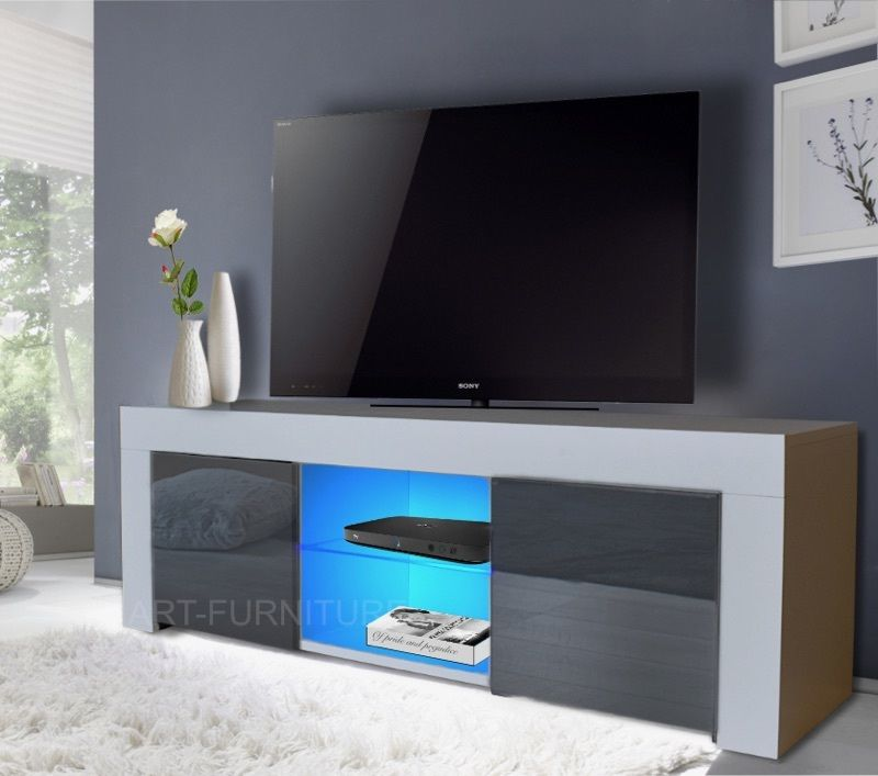 Modern Matt White and Gloss Grey TV Unit Led Lights Stand Cabinet led lights