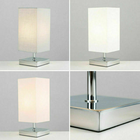 Modern Touch Table Lamps Chrome Square Fabric Lampshades LED Light Bulb Lighting