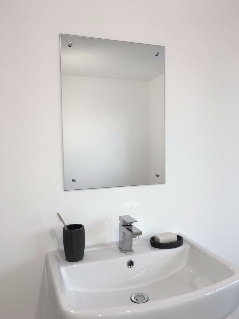 Frameless Unframed Bathroom Mirror with Pre Drilled Holes & Wall Hanging Fixings