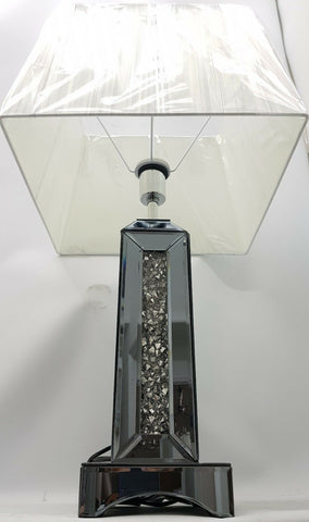 Diamond Crush Smoked Silver Mirrored Large Sparkly Square Table Lamp with Shade