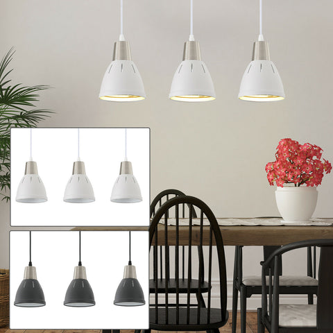 Pendant Lamp Ceiling 3 Lights Adjustable Hanging Cord Metal Shade Dining