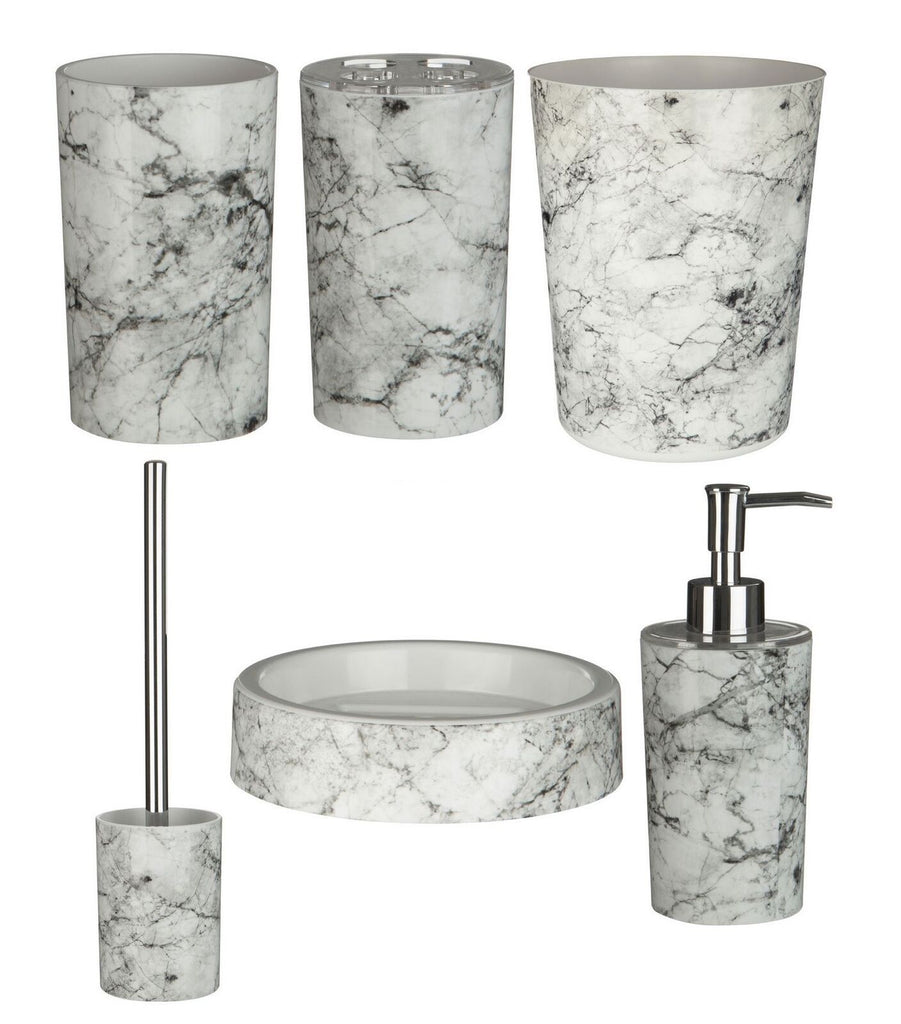 Rome Bathroom Accessories Set (6pc) | Marble Effect | ABS Plastic
