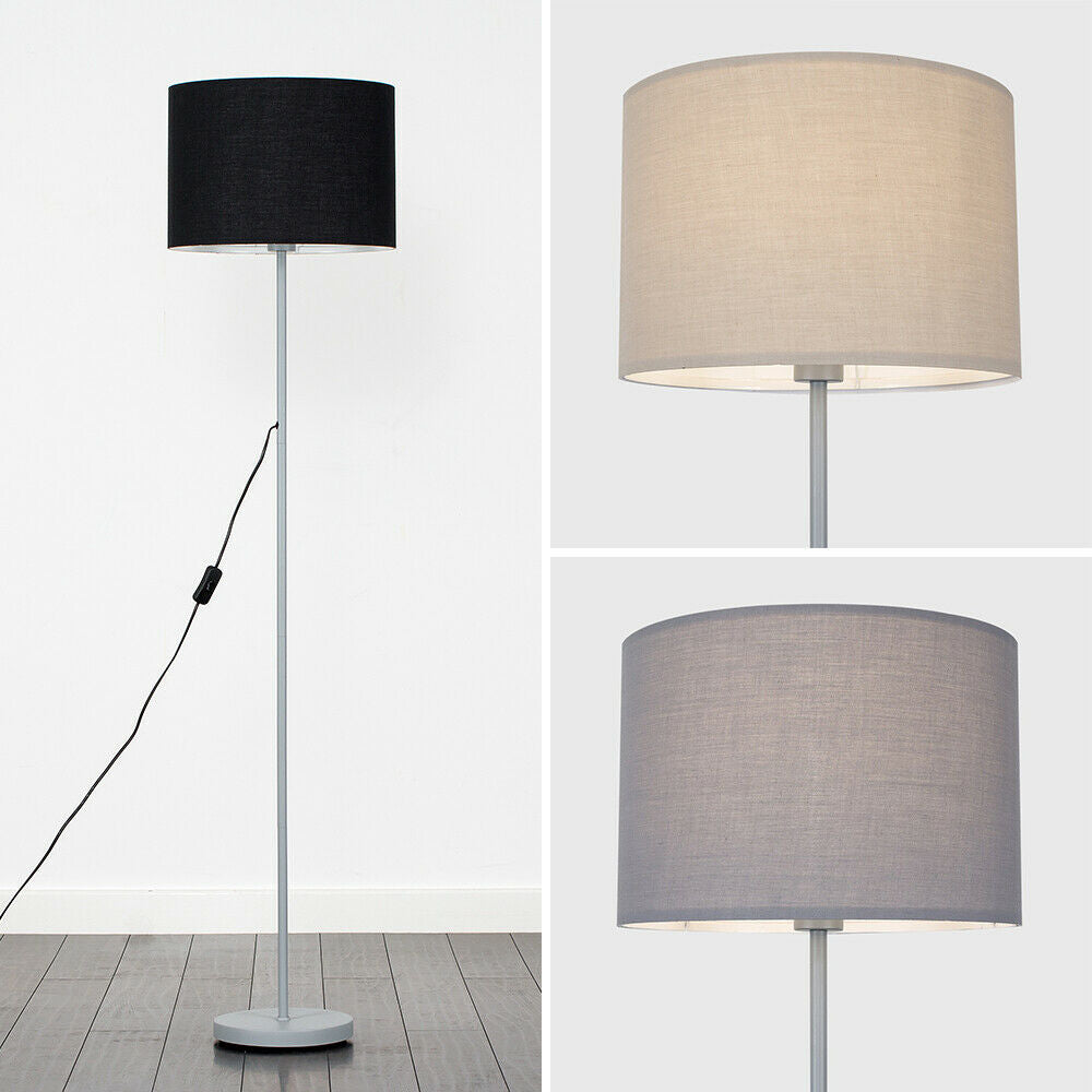 Tall Standard Floor Lamp Grey Metal Lighting Fabric Drum Lampshades LED Light