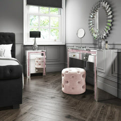 Mariah Crush Diamond Mirrored Bedside Table in Pink