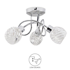 Modern 3 Way Polished Chrome Spiral Arm Ceiling Light Fitting Swirl Glass Shades