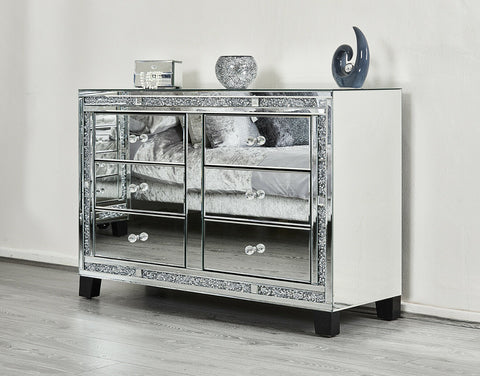 Mirror Bedroom Furniture Drawers Bedside Table Cabinet Chest Mirrored Nightstand
