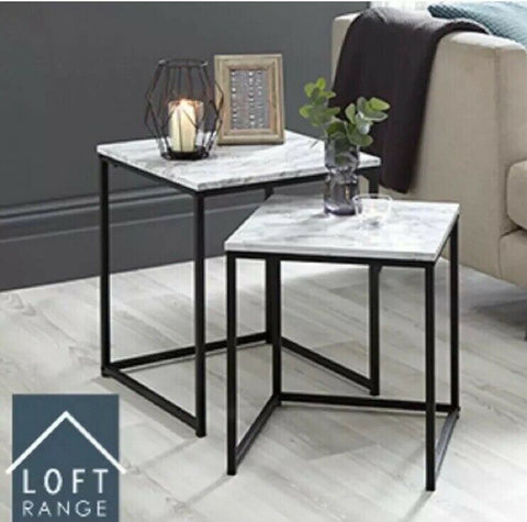 Loft Range Marble Effect Nest of Tables Approx 40CM X 40CM X 45CM