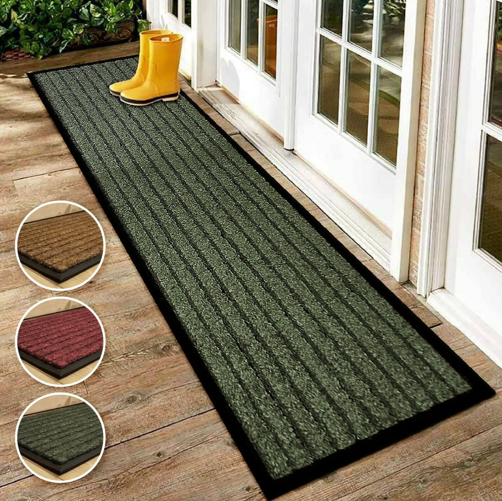 Non Slip Rubber Backed Runner Door Floor Mat Rug Indoor Outdoor Grey Brown Red