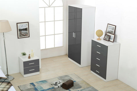 3 Piece Gloss Bedroom Furniture in White or Grey