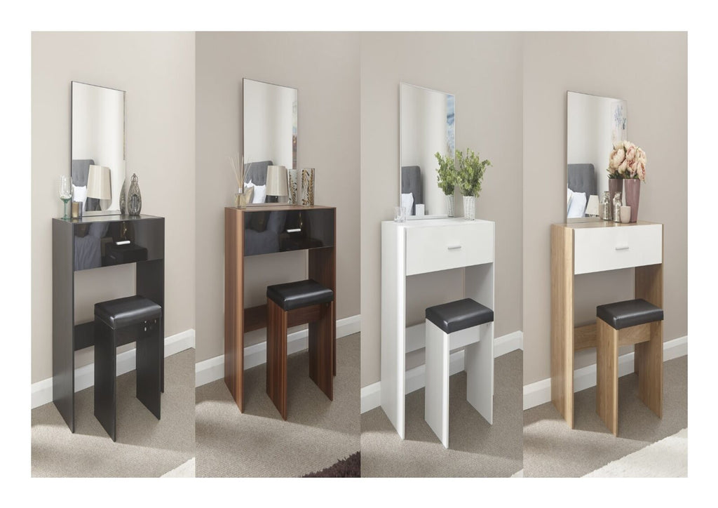 Ottawa Caspian Gloss Dressing Table Stool Mirror Set - Black