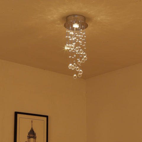 Crystal Ceiling Light Chandelier Lamp Shade Spiral Rain Drop Metal Silver