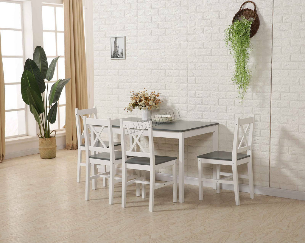 WestWood Quality Solid Wooden Dining Table and 4 Chairs Set Kitchen Home DS03