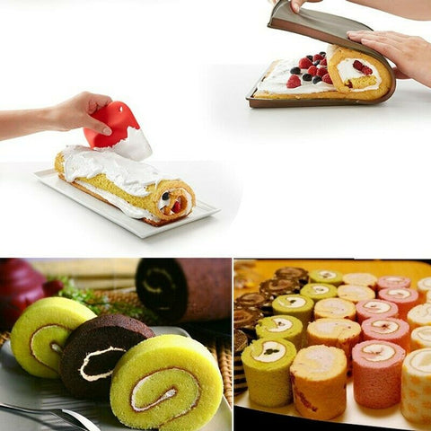 Non-stick Silicone Oven Mat Safety Baking Trays Cake Swiss DIY Roll Pad Tool UK