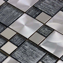 Luxury Textured Grey Glass & Brushed Steel Mix Mosaic Wall Tiles Sheet 8mm