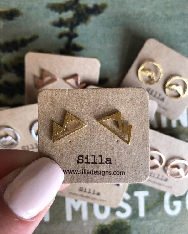 Two Mountain Peaks Stud Earrings
