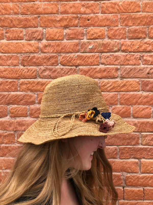 Straw Hat with Woven Straw Flowers