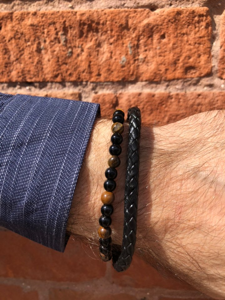 Men's Leather Bracelet with Stones