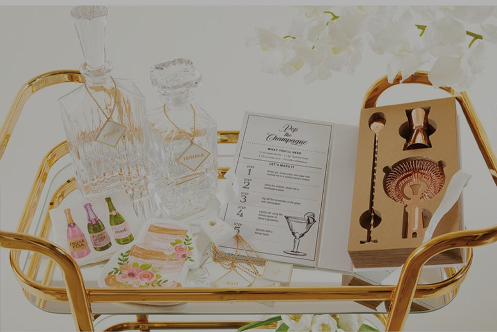 Cardboard Book Set- Rose Gold Barware