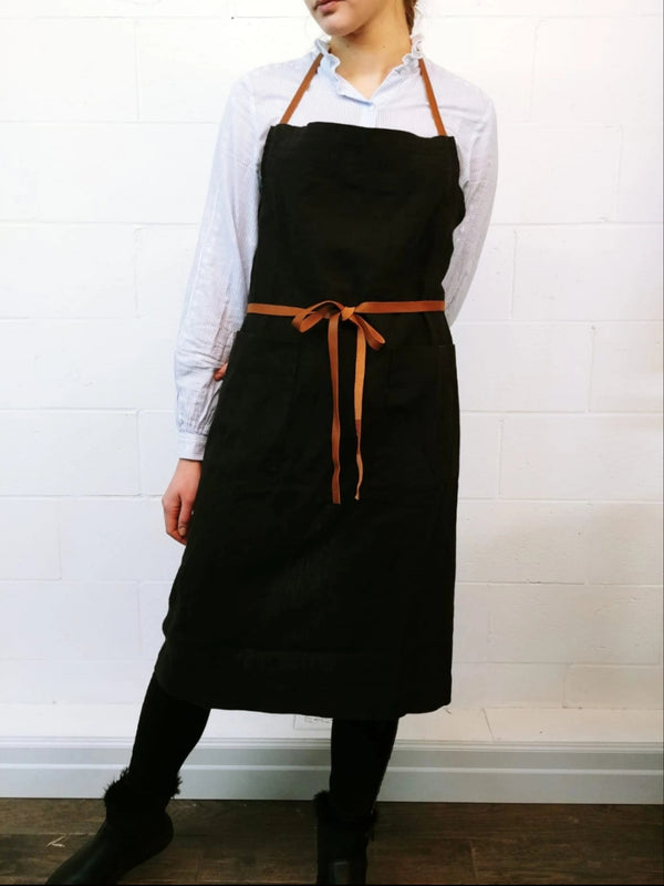 Apron Chef Work Black With Leather